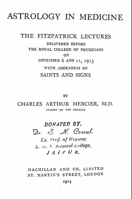 Astrology In Medicine by Mercier, Charles Arthur -1919