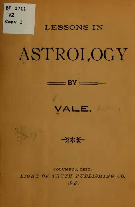 Lessons in astrology by Vale - 1898