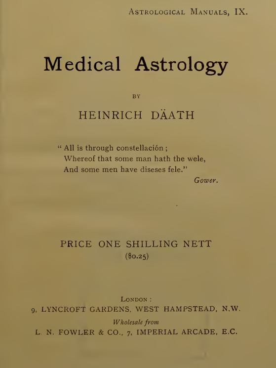 Medical astrology by Däath, Heinrich - 1907