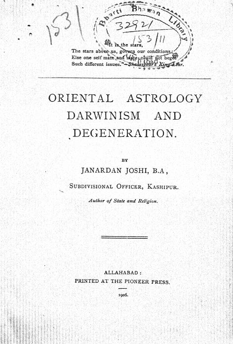 Oriental Astrology Darwinism And Degeneration by Janardan Joshi - 1905