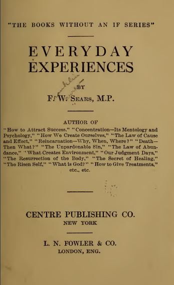 Everyday experiences by Franklin Warren Sears - 1916