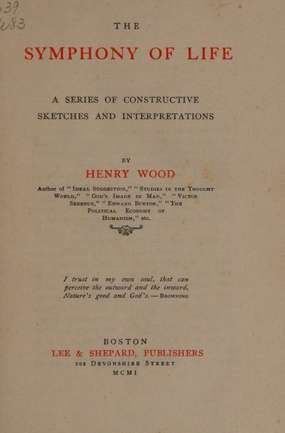 The symphony of life by Henry Wood - 1901