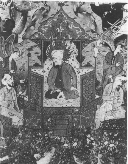 King Solomon enthroned between grand vizier Aasif (left) and king of jinns (right). A 16th-century Safavid miniature.